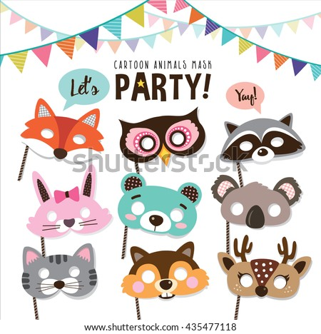 Set of cartoon animals party masks - stock vector