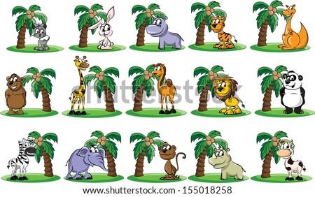 Set of cartoon animals - vector - stock vector