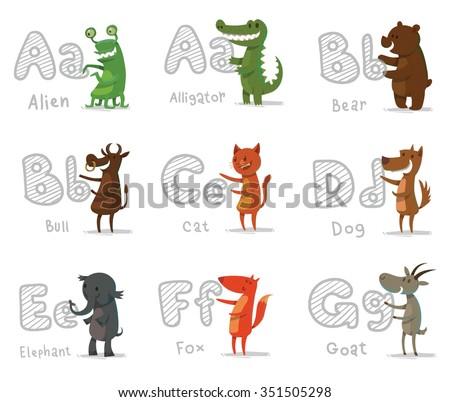 set of cartoon animals with letters. Animal funny alphabet. Alien. Alligator. Bear. Bull. Cat. Dog. Elephant. Fox. Goat. vector illustrations - stock vector