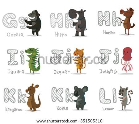 set of cartoon animals with letters. Animal funny alphabet. Gorilla. Hippo. Horse. Iguana. Jaguar. Jellyfish. Kangaroo. Koala. Lemur. vector illustrations - stock vector