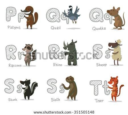 set of cartoon animals with letters. Animal funny alphabet. Platypus. Quail. Quokka. Raccoon. Rhino. Sheep. Skunk. Sloth. Tiger. vector illustrations - stock vector