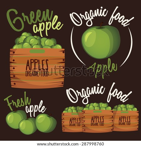 Set of cartoon apples, boxes with apples. Apple logo .Organic eco food. Vector illustration