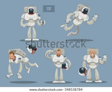 Set of cartoon astronauts in white spacesuits. One died. One flying in space. One standing with a banner where you can place image of any country. Vector illustration - stock vector