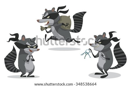 Set of cartoon bandit raccoon in robber masks. They look like they robbed a bank recently. vector illustration - stock vector