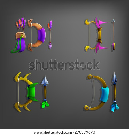 Set of cartoon bows and arrows. Vector illustration. - stock vector