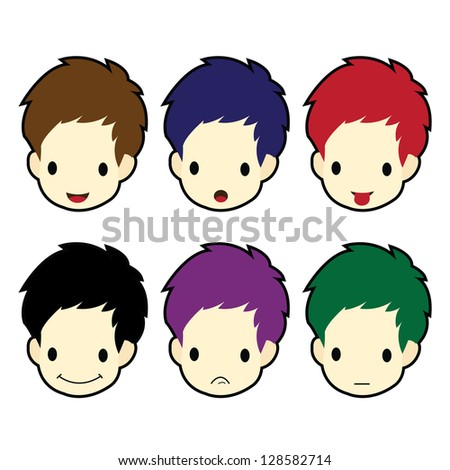 Set of cartoon boy face in a variety of emotions - stock vector