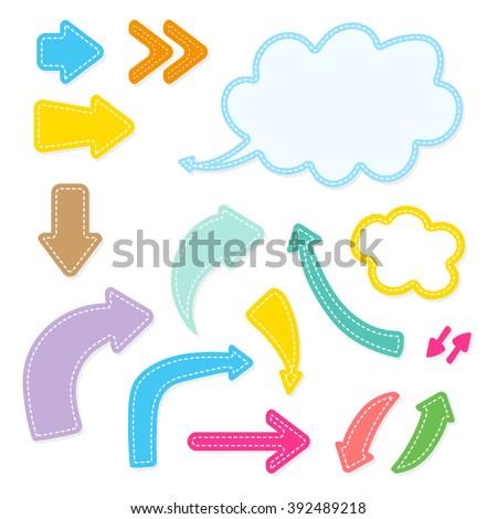 Set of Cartoon Bright Arrows - stock vector
