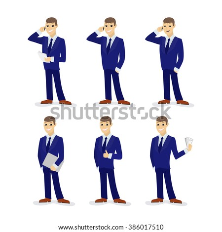 Set of cartoon businessmans, man in tuxedo with telephone and papers, people talking on the phone, businessman with laptop, man shows gesture OK, the man with money. Vector illustration.  - stock vector