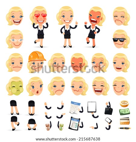 Set of Cartoon Businesswoman Character for Your Design or Animation. Isolated on White Background. - stock vector