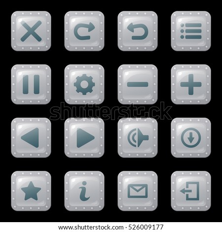 Set of cartoon buttons or icons in silver or steel frames isolated on black background for game, GUI design. Cute cartoon mobile app vector elements template.