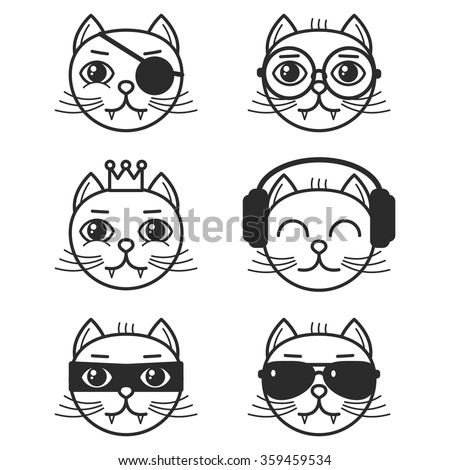 Set of cartoon cats on white background - stock vector