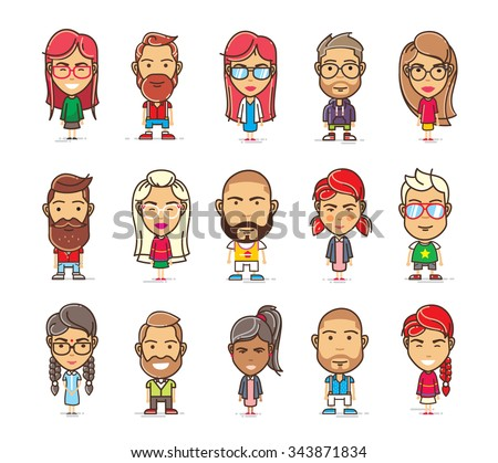 Set of cartoon character in flat style on a white background - stock vector