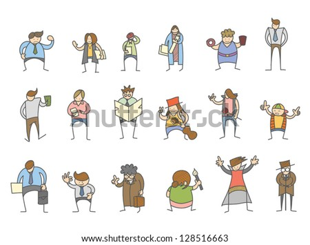 set of cartoon character various poses