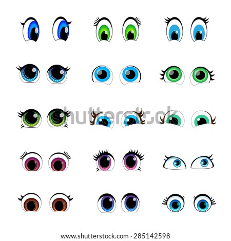 set of cartoon characters for the eyes - stock vector