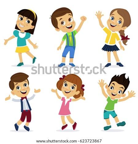 set of cartoon characters happy girls and boys school children cute schoolchild