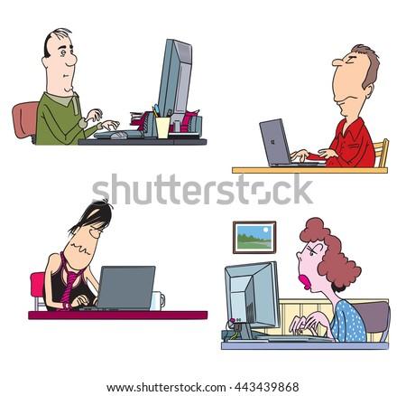 Set of cartoon characters working on computers. Vector illustration - stock vector
