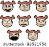 Set of cartoon child's faces with emotional expressions - stock vector