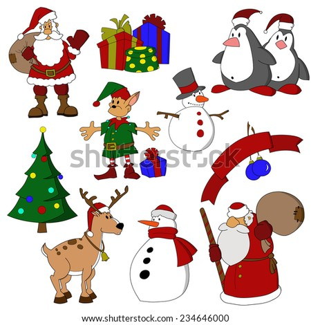 Set of cartoon Christmas characters. Santa Claus,   snowmen, deer, elf, penguins, Christmas tree and holiday presents. - stock vector