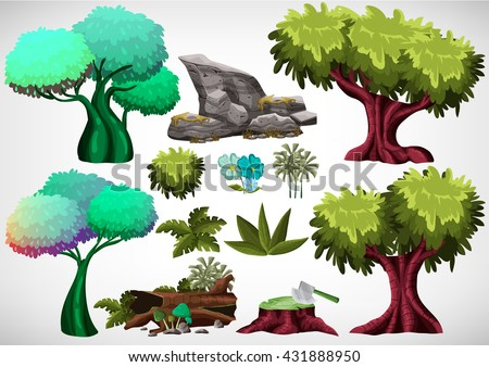 Set of cartoon colored tree for use in the game and animation, game design asset - stock vector