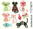 set of cartoon cute cats - stock photo