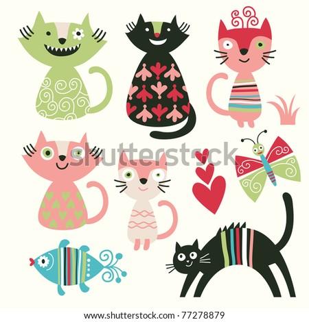 set of cartoon cute cats - stock vector