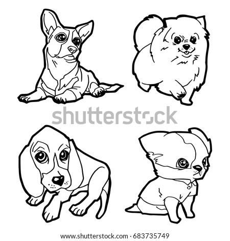 Set cartoon cute dog coloring page stock vector 683735749 for Cute cartoon puppy coloring pages