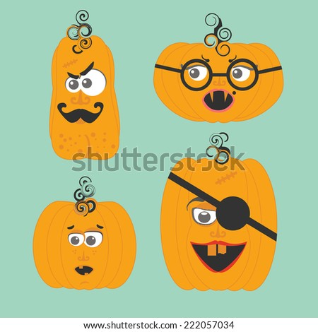 Set of cartoon cute pumpkin faces - stock vector
