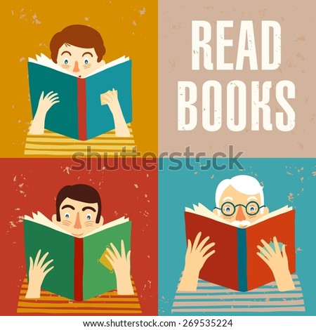 Set of cartoon different age people reading books on grunge background. Vector illustration. - stock vector