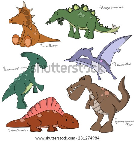 Set of 6 cartoon dinosaur characters. Pterodactyl, Triceratops, Dimetrodon, Parasaurolophus, Stegosaurus, Tyrannosaurus Rex. - stock vector
