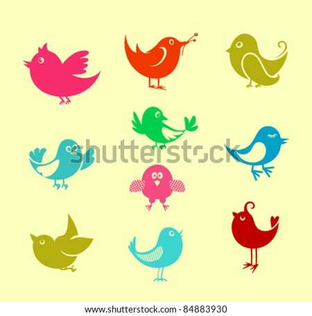 Set of cartoon doodle birds icons for communication networks design, such a logo. Rasterized version also available in gallery - stock vector