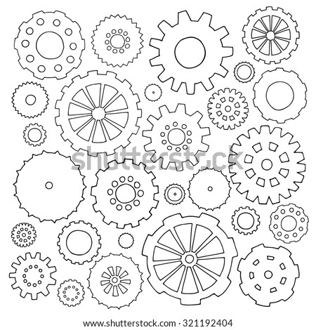Set of cartoon doodle gears. Mechanical elements for business design. Decorative vector illustration isolated on white background. All cogs organized in groups for easy editing. - stock vector