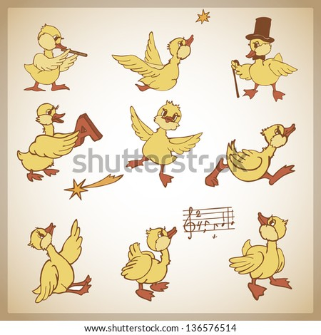set of cartoon ducks,vector illustration - stock vector