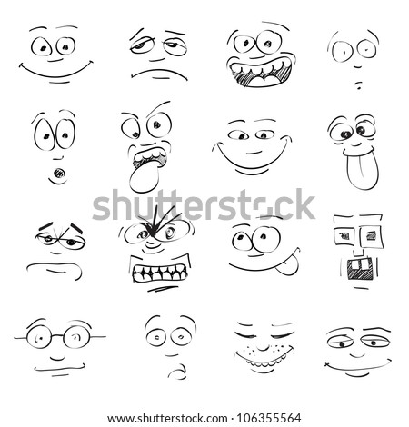 set of cartoon emotion on faces - stock vector