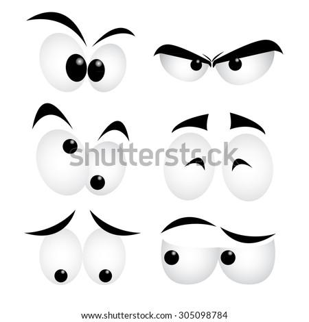 set of cartoon eyes on white background stock vector
