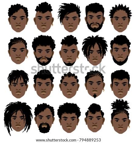 Set Cartoon Faces Black Men Different เวกเตอร์สต็อก