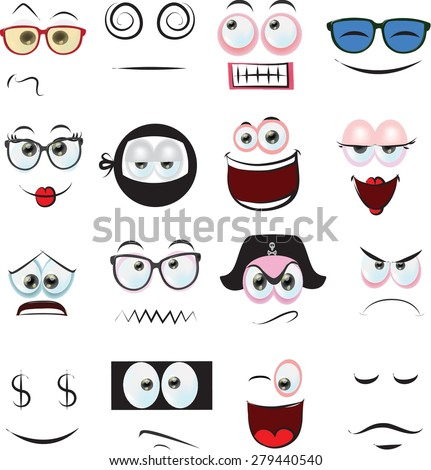 Set 20 Cartoon Faces Stock Vector 125772515 - Shutterstock