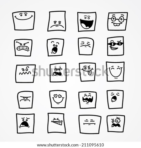Set of cartoon faces with different expressions - stock vector