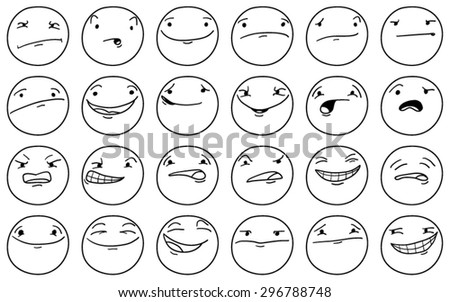 Set of cartoon faces with different expressions
