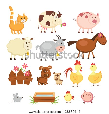 Set of cartoon farm animals - stock vector