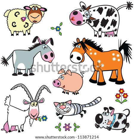 set of cartoon farm animals,vector ,images isolated on white background,children illustration - stock vector