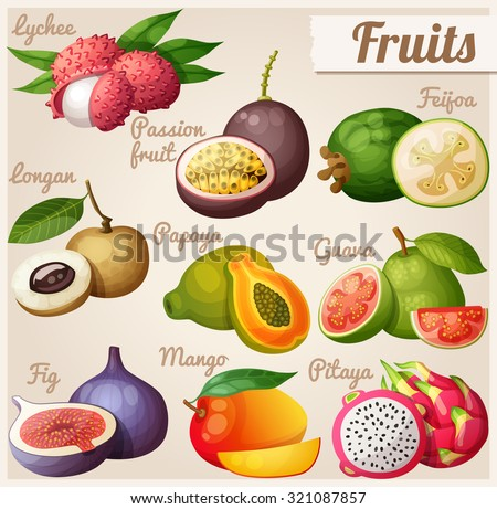 Set of cartoon food icons. Exotic fruits. Lychee (litchi), passion fruit, feijoa, longan, papaya (pawpaw), guava, fig, mango, pitaya (dragon fruit)