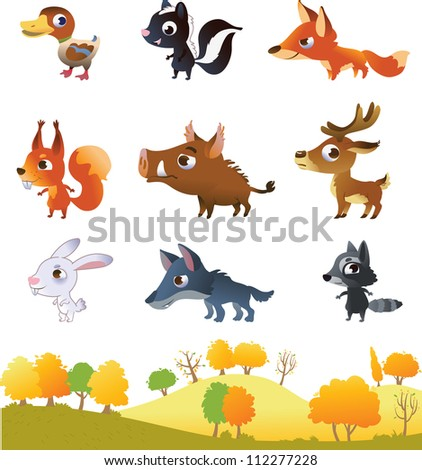 Set of cartoon forest animals - stock vector