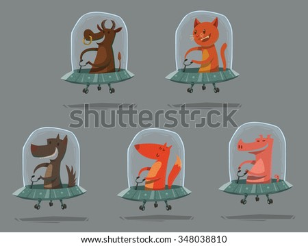 Set of Cartoon funny animals flying in spaceships, Cow, cat, dog, fox and pig, vector illustration - stock vector