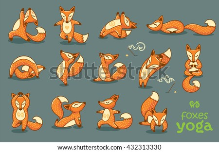 Set of cartoon funny foxes doing yoga position