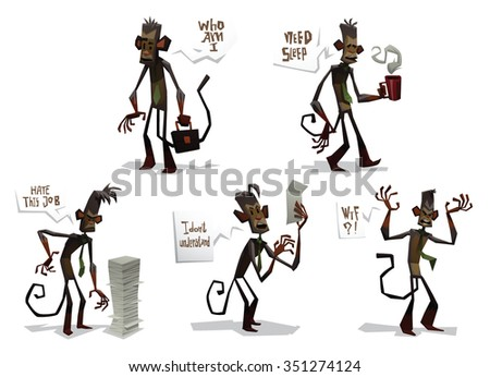 Set of Cartoon funny monkeys doing business job. They are trying to do business job but do it not well. made in triangle style. vector illustrations - stock vector