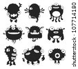 Set of cartoon funny monsters for use in design, etc. - stock vector
