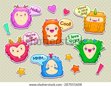 Set of cartoon funny monsters with speach bubbles - stock vector