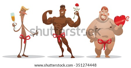 Set of cartoon funny people who giving themselves on a holiday like a gift. Black strong man with rose. Thin white man with glass of champagne. Fat white man with chocolate. vector illustrations - stock vector