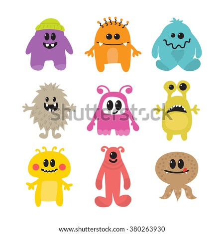 Set of cartoon funny smiley monsters. Collection of different monsters characters. Vector illustration