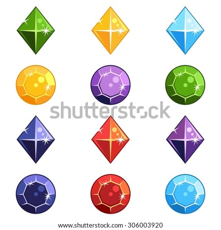 Set of cartoon gem stones in different colors and shapes for a game - stock vector